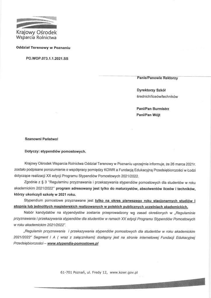 skan pisma dotyczący stypendium pomostowego na rok 2021/2022