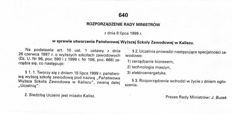 rozporządzenie w sprawie utworzenia Państwowej Wyższej Szkoły Zawodowej w Kaliszu