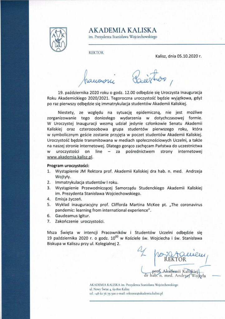 Skan pisma odnośnie uroczystej inauguracji roku akademickiego 2020/2021