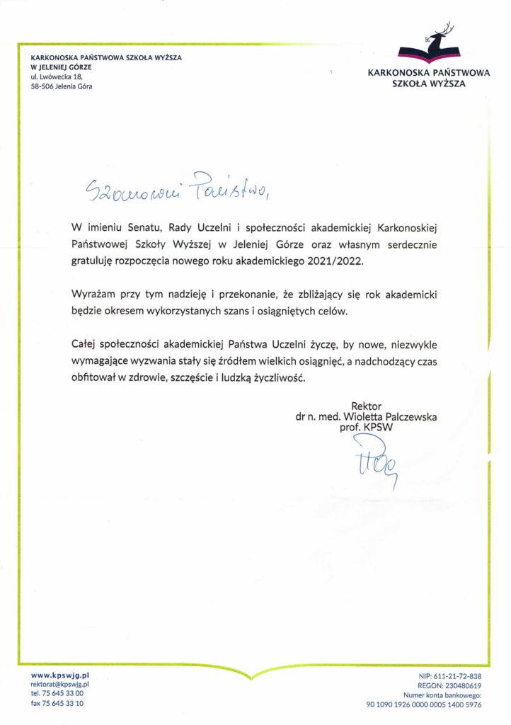 życzenia inauguracja roku akademickiego 2021/2022 Rektor KPSW