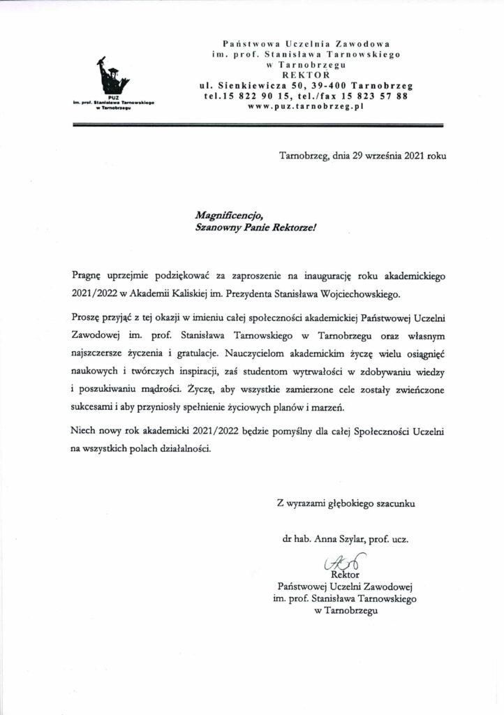 życzenia inauguracja roku akademickiego 2021/2022 Rektor PUZ w Tarnobrzegu