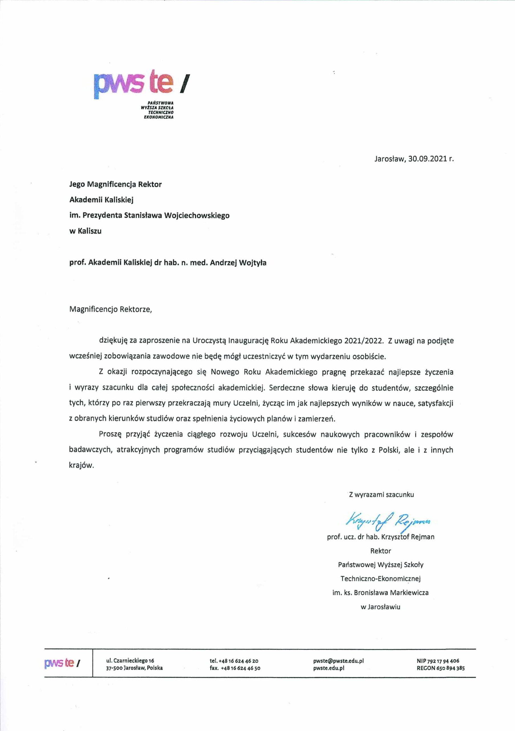 życzenia inauguracja roku akademickiego 2021/2022 Rektor PWSTE w Jarosławiu