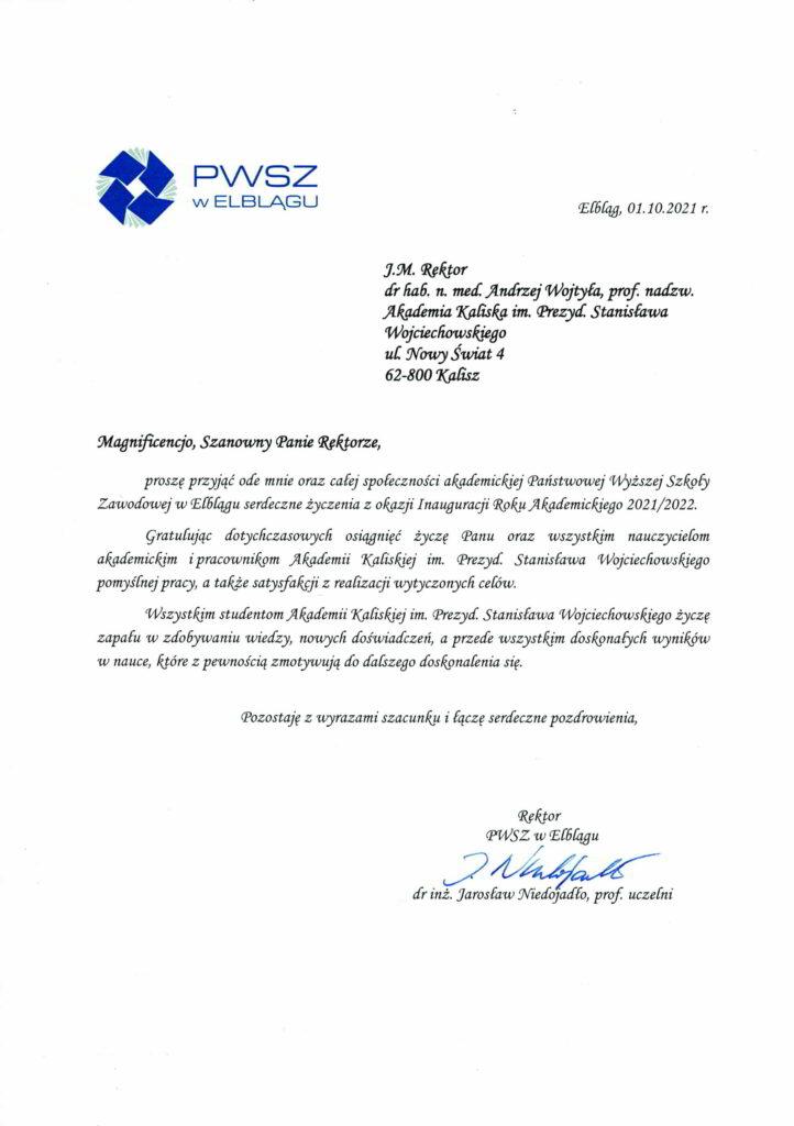życzenia inauguracja roku akademickiego 2021/2022 Rektor PWSZ w Elblągu