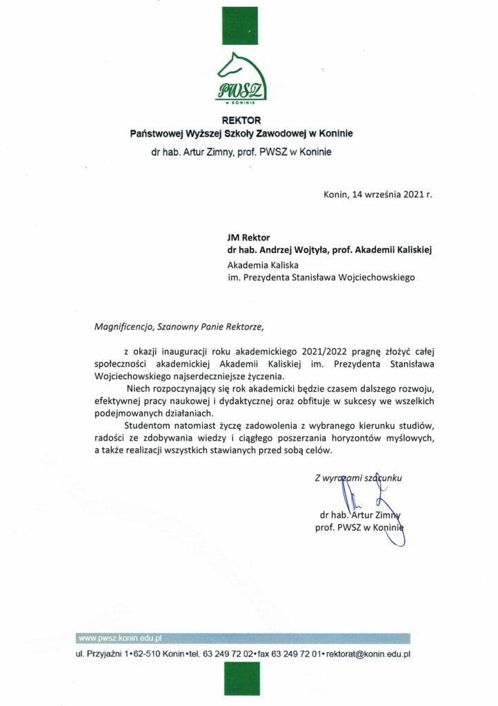 życzenia inauguracja roku akademickiego 2021/2022 Rektor PWSZ w Koninie