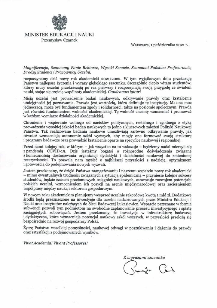 życzenia inauguracja roku akademickiego 2021/2022 Minister Edukacji i Nauki