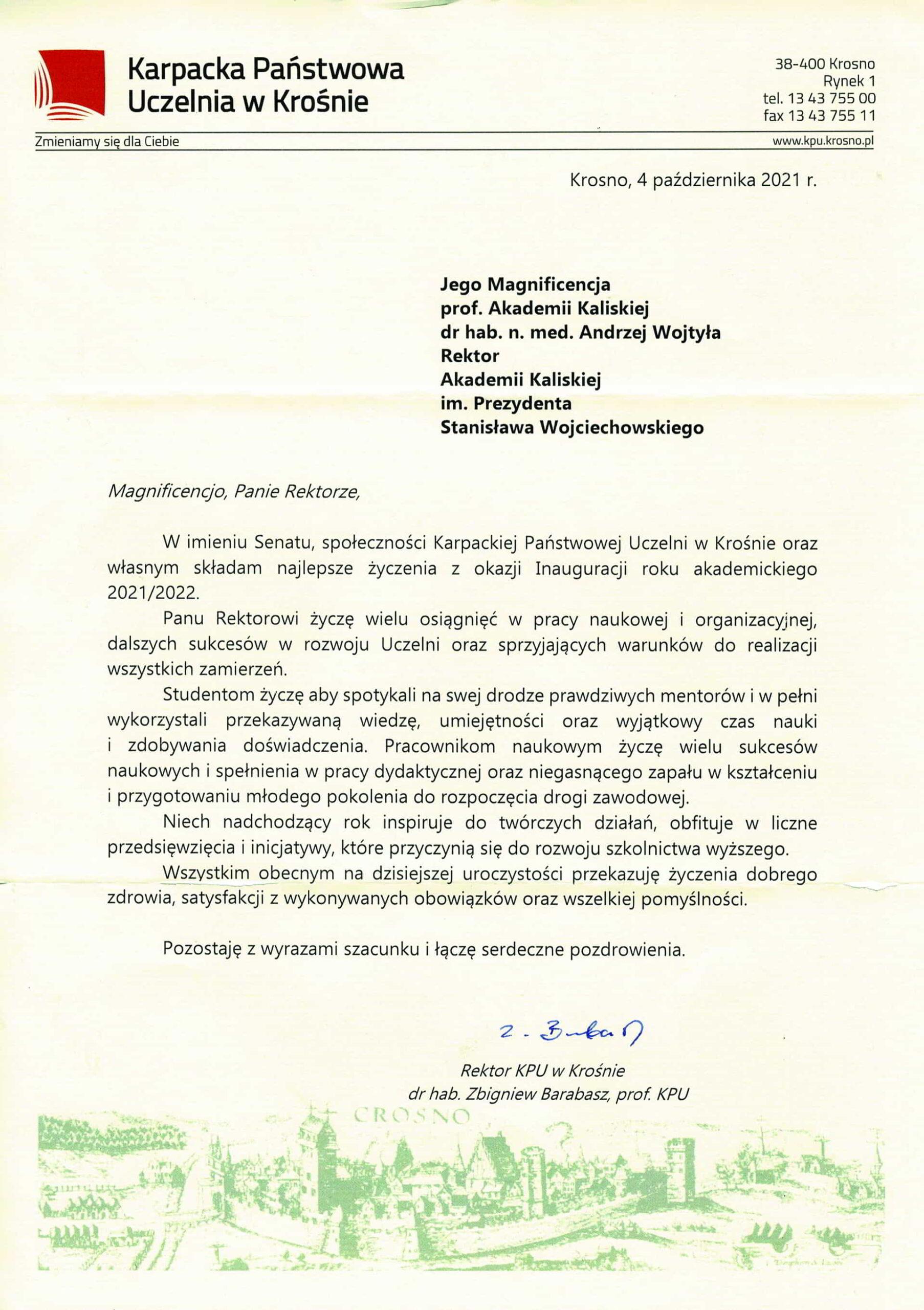 życzenia inauguracja roku akademickiego 2021/2022 Rektor KPU w Krośnie