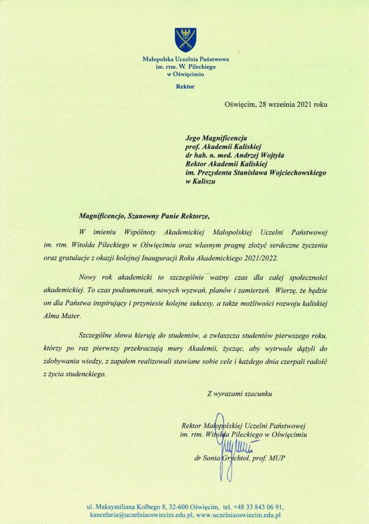 życzenia inauguracja roku akademickiego 2021/2022 Rektor MUP w Oświęcimiu