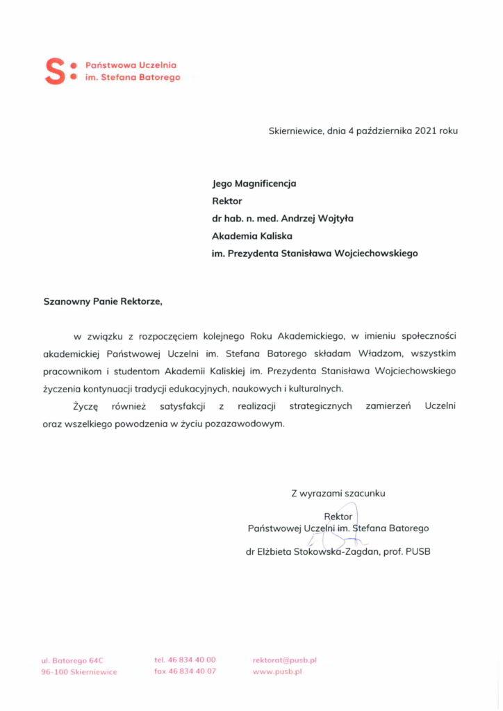 życzenia inauguracja roku akademickiego 2021/2022 Rektor Państwowej Uczelni im. Stefana Batorego
