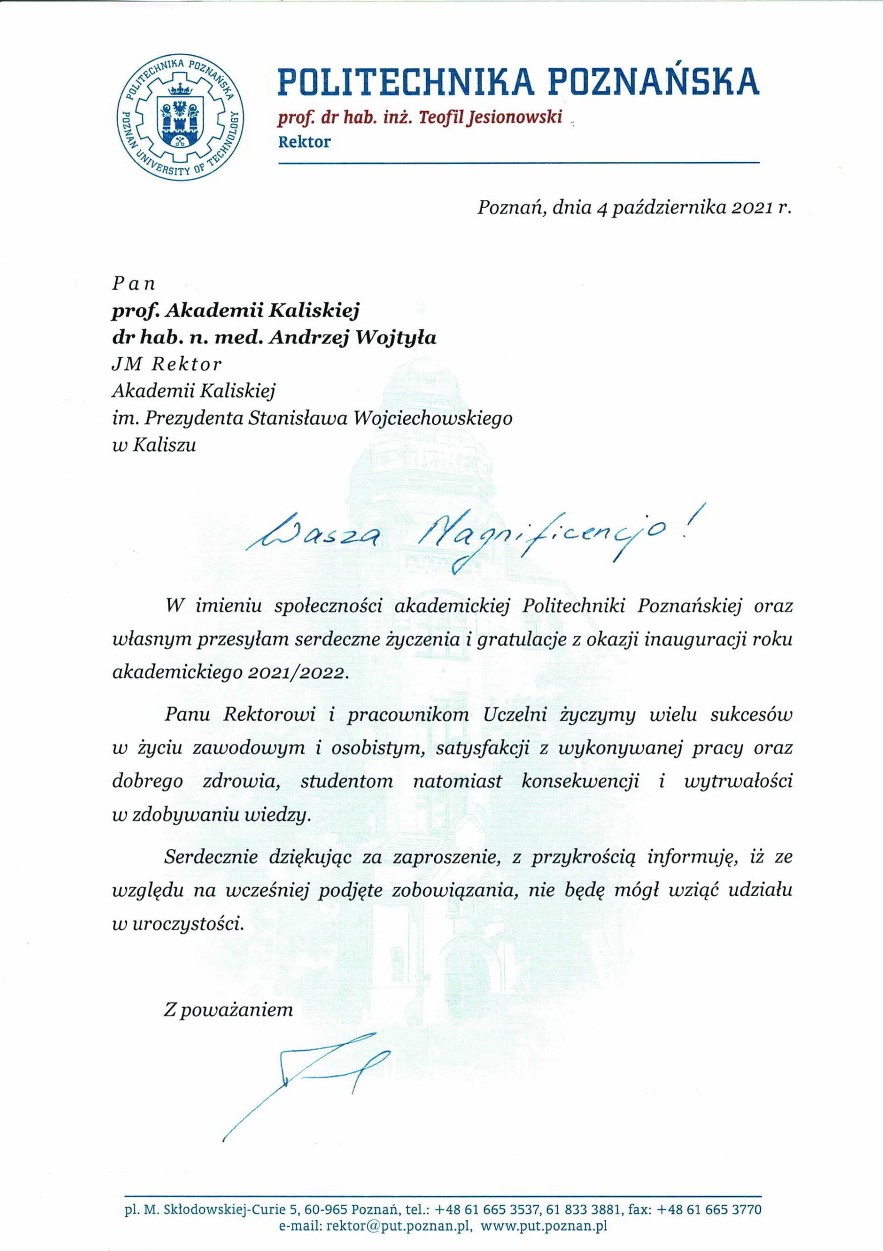 życzenia inauguracja roku akademickiego 2021/2022 Rektor Politechniki Poznańskiej