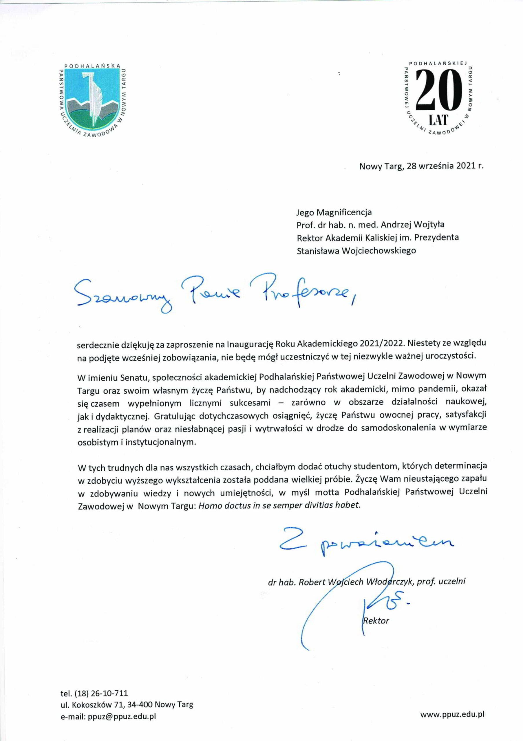życzenia inauguracja roku akademickiego 2021/2022 Rektor PPUZ w Nowym Targu