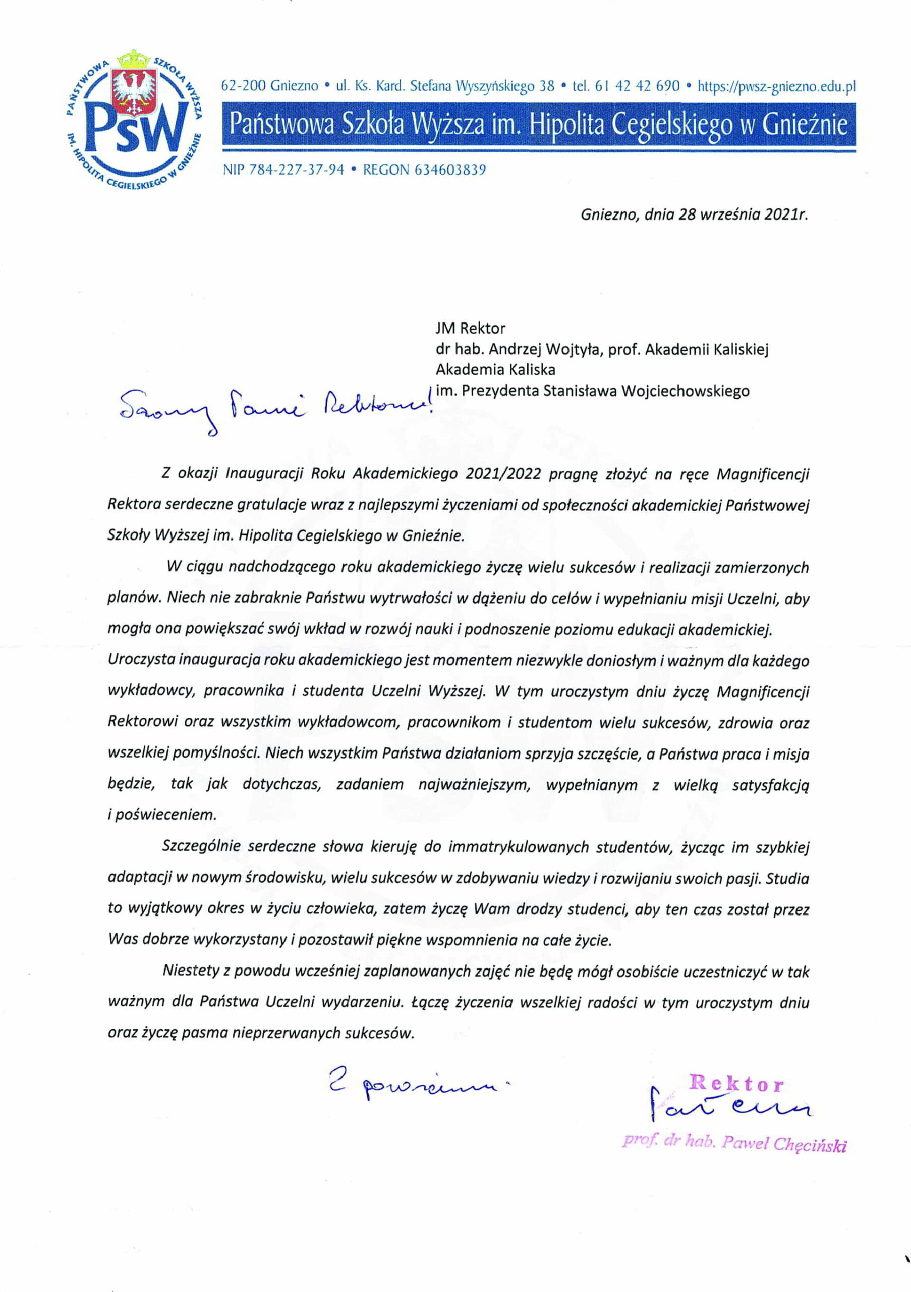 życzenia inauguracja roku akademickiego 2021/2022 Rektor PSW w Gnieźnie