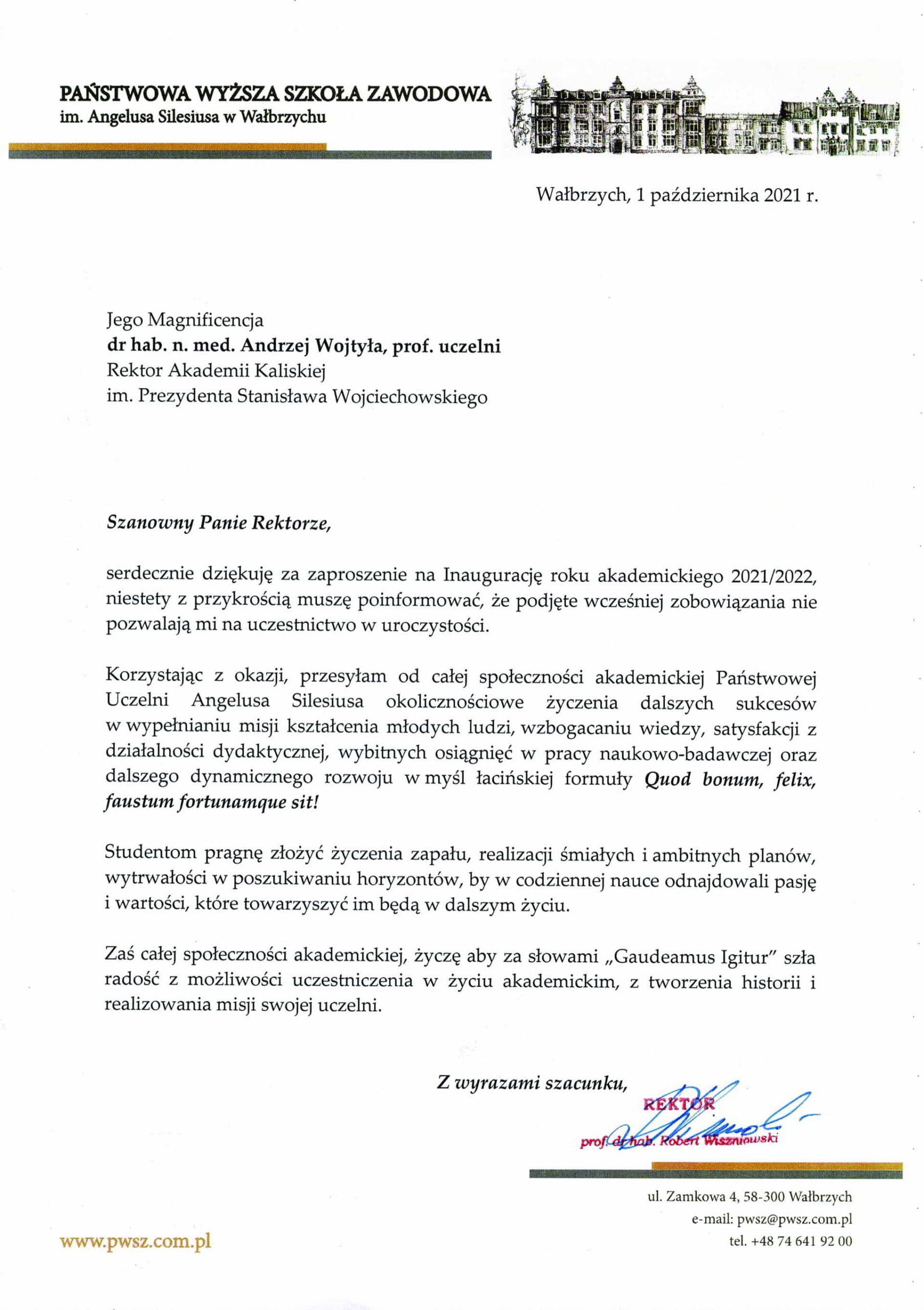 życzenia inauguracja roku akademickiego 2021/2022 Rektor PWSZ w Wałbrzychu