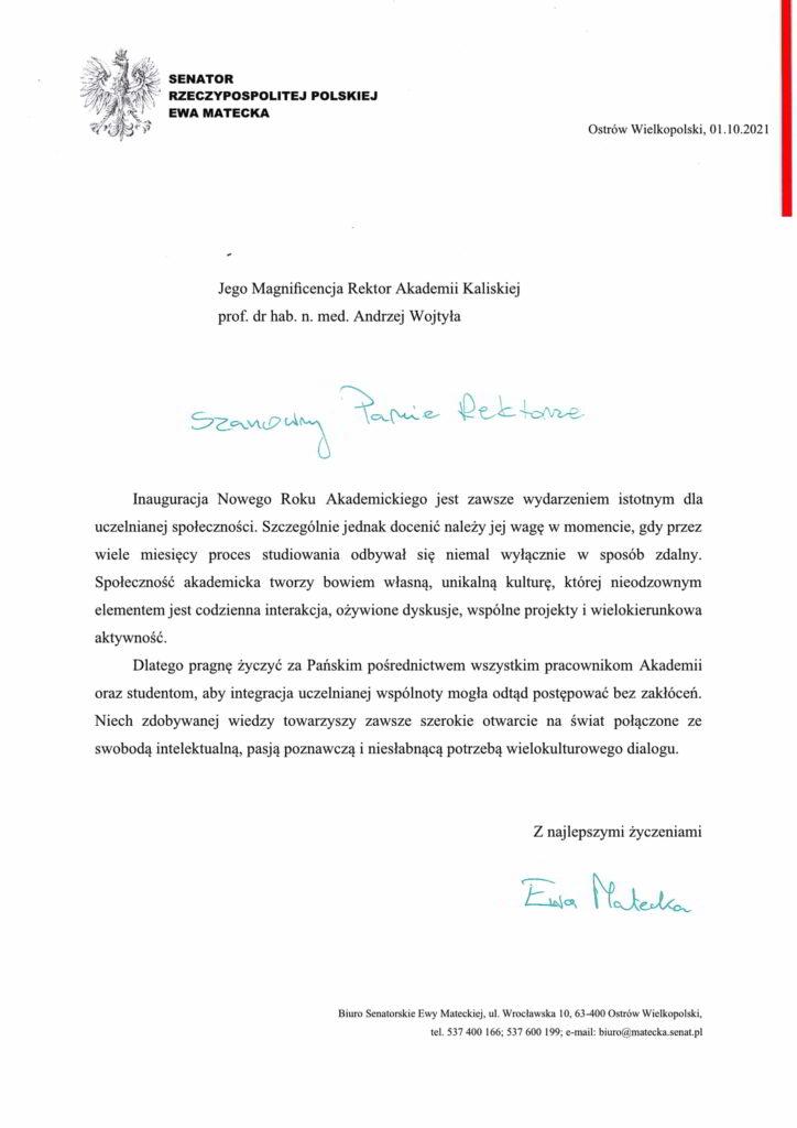 życzenia inauguracja roku akademickiego 2021/2022 Senator Rzeczypospolitej Polskiej